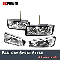Hs Power Headlights Compatiable with Chevy Avalanche 02-06   Chrome Clear Housing with Signal Corner Lamps