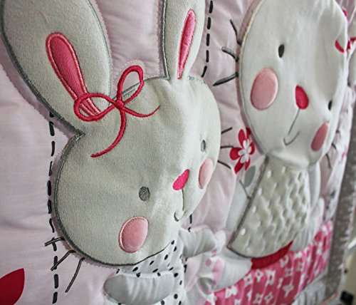 NAUGHTYBOSS Girl Baby Bedding Set Cotton 3D Embroidery Rabbit Flowers Insects Quilt Bumper Mattress Cover Bedskirt 7 Pieces Set White Pink by NAUGHTYBOSS (Image #2)