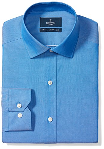 BUTTONED DOWN Men's Tailored Fit Spread-Collar Solid Non-Iron Dress Shirt, French Blue, 17