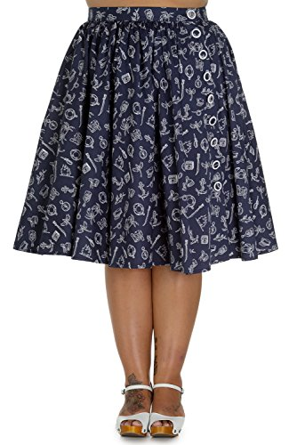 Hell Bunny 50's Marin Nautical Navy Swing Skirt (Bunny Skirt)