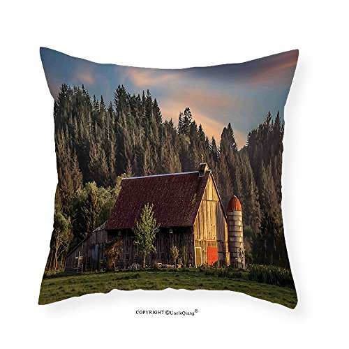 Side Deco Ring (VROSELV Custom Cotton Linen Pillowcase Farmhouse Decor Idyllic Sunset at Countryside Rural with Wood Barn Pine Trees Village Landscape for Bedroom Living Room Dorm Multi 14