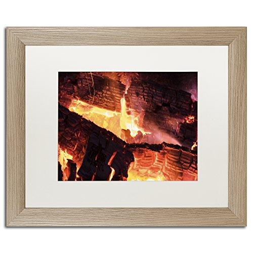 Trademark Fine Art Fireplace by Kurt Shaffer, White Matte, Birch Frame 16x20-Inch by Trademark Fine Art