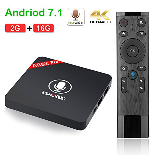 ESHOWEE Android 7.1 TV Box with Voice Remote Control Amlogic S905W Quad-core DDR3 2GB RAM 16GB ROM 4K UHD WiFi