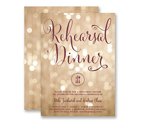 - Wedding Rehearsal Invitations Dinner Party Champagne Bokeh Twinkling Lights & Plum Modern Elegant Calligraphy Customized Invites - Mila style