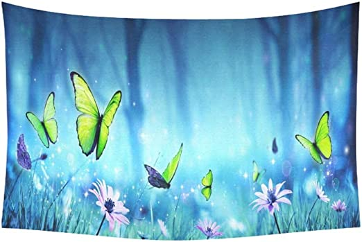 Blue Watercolor Butterfly Wall Hanging Tapestry Bedspread Dorm Home Decor