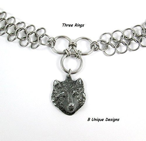 Unisex Chainmail (Wolf Diamond Cut Pewter Stainless Steel Chain Mail Choker or Necklace Chains Personalized Unisex Jewelry)