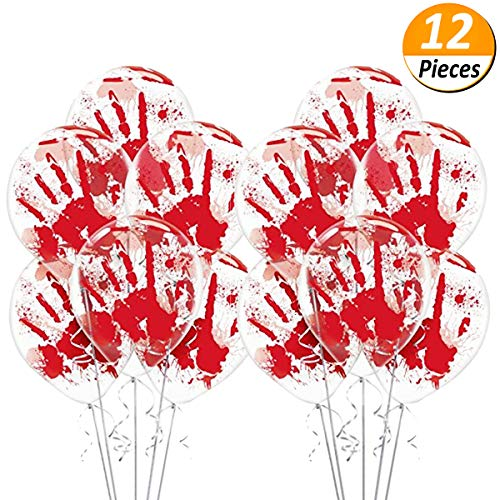 JETTINGBUY 12 Pcs Halloween Balloons Bloody Hand Printed, Haunted Asylum Halloween Hand Blood Splatter Skeleton Pumpkin Spider Web Latex Balloons for Halloween Party Decor, 12Inch
