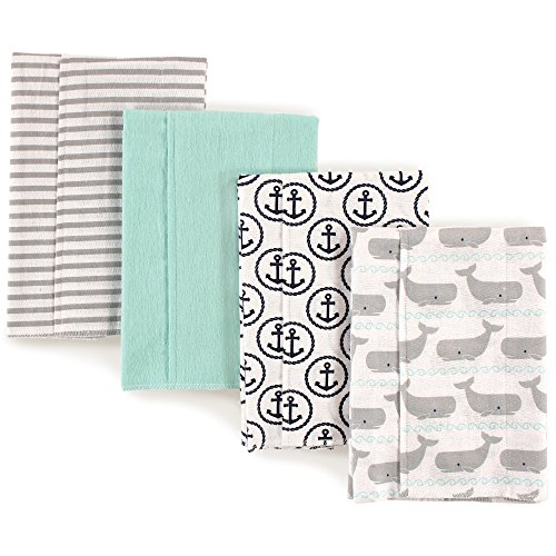 Baby Burp Cloth Set (Hudson Baby Flannel Burp Cloths, Whales)