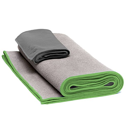 Yoga Mat Towel & Cooling Towel by Yogiii | The YogiiiSWEAT Towel Set | Hot Yoga & Bikram Skidless Mat Towel w/ Cooling Hand Towel Bundle |