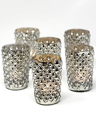 Serene Spaces Living Antique Silver Diamond Votive Holder, Handmade Mercury Glass Finish, Set of 6 (Antique Silver Finish Style)