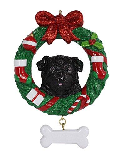 WorldWide Personalized Black Pug Wreath Dog -