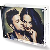 DYCacrlic 6x8 Clear Acrylic Magnetic Picture Frames - Double Sided - 20% Thicker - Magnetic Photo Frames - Desktop Acryic Frames - 6x8 Inches