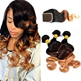 Originea TM 7A Grade Malaysian Wavy Ombre Body Wave Hair Weave Bundles With Free Style Closure 4pcs/lot