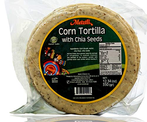 Premium Corn Tortillas Made In Mexico With Fresh Chia Seeds | Cholesterol Free, Low Carb With Omega 3 and Fiber Enriched | FREE Reusable Eco-friendly Bag (21 Tortillas by 5'', 17.5 oz)