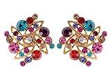 Alilang Golden Tone Multicolored Rhinestones Colorful Square Shape Stud Earrings