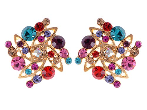 Alilang Golden Tone Multicolored Rhinestones Colorful Square Shape Stud Earrings ()