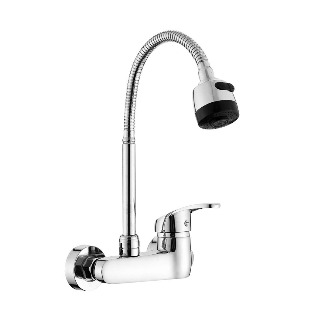 Wall Mount Kitchen Sink Faucet 4-8 Inch Center Adjustable Swivel Spray Handle Lever Pull Out Pre-rinse Pull Down Commercial Bar Faucet Chrome Mixer Tap 360 Degree Spray Head Hot And Cold Water