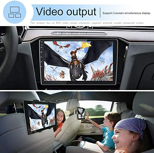 10 Inch Android Double Din Car Stereo Radio Support Split Screen GPS Navigation Car Radio Touch Screen Head Unit with Bluetooth FM WiFi USB Mirror Link for Android/iOS Phone + Backup Camera
