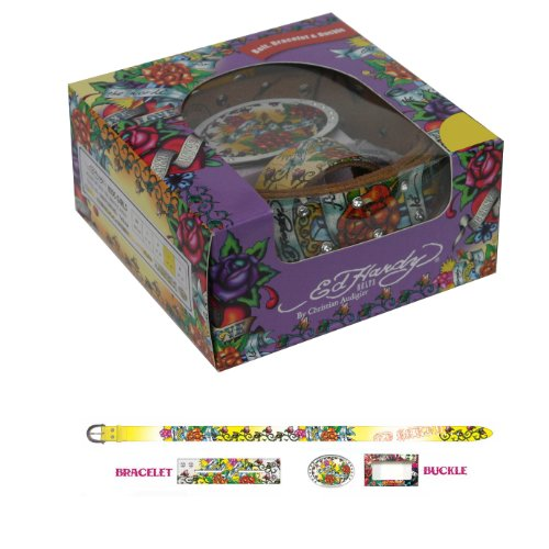 Ed Hardy Long Stem Roses Holiday Gift Belt Set For Girls - (Ed Hardy Fashion Belt)
