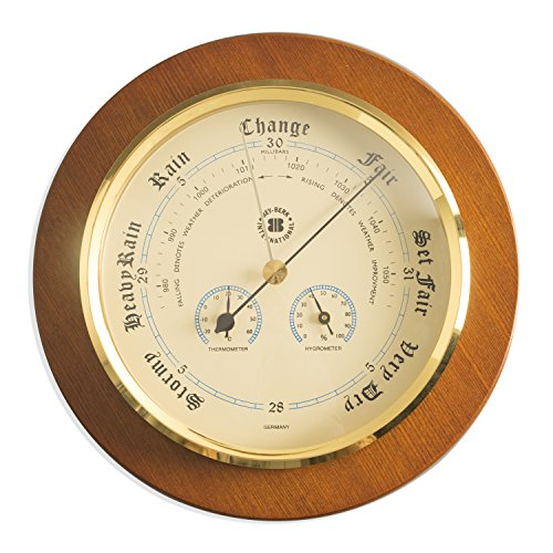 Time Factory AJ-WS078 Barometer with Thermometer and Hygrometer on Cherry Wood with Brass Bezel 9