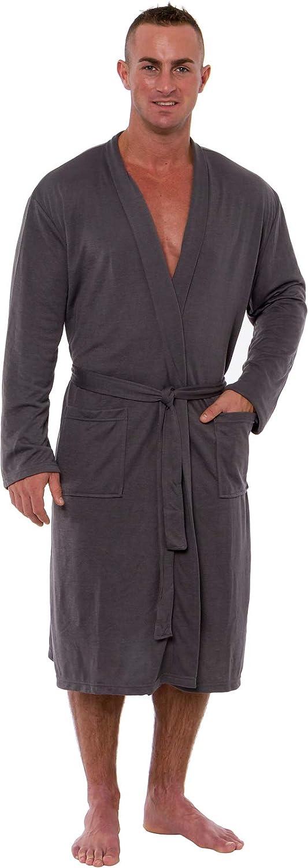 Ross Michaels Men's Lightweight Robe - Luxury Knit Sleep Jersey Bathrobe w/Tie Waist