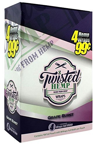 15 pk Twisted Hemp Wrap Grape Burst 4 leaf per pk by Twisted Hemp Wrap