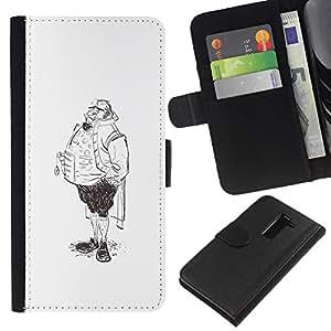 Planetar® Modelo colorido cuero carpeta tirón caso cubierta piel Holster Funda protección Para LG G2 / D800 / D802 / D803 / VS980 ( Aristocrat Legs Man Sketch Pencil Drawing Art )