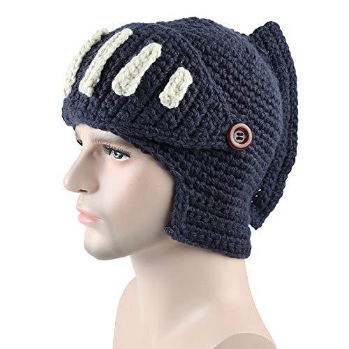 Oscuro de de de Gladiador Hecho Mano marino Punto Hombre HLH a Invierno de Máscara Sombrero Sombrero de de Sombrero Caballero Gris Romano de Punto azul zqWPB