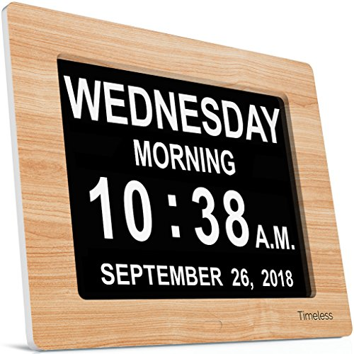INNOCLOCK - Most Advanced - Superior Quality - Calendar Day Digital Clock - Large, Clear, Unabbreviated Time and Date - Ideal for Memory Loss, Impaired Vision and Seniors (8 inch, ()