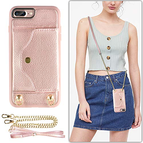 LAMEEKU iPhone 8 Plus Wallet Case, iPhone 7 Plus Case Leather with Credit Card Holder Slot, Protective Cover with Crossbody Chain Strap Wrist Strap for Apple iPhone 7 Plus/8 Plus 5.5