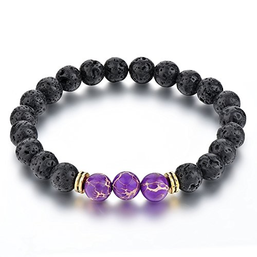 Mystiqs Lava Rock & Purple Jasper Beaded Bracelet Essential Oil Diffuser for Men,Women Aromatherapy Ideal for Anti-Stress or Anti-Anxiety