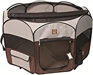 One for Pets Fabric Portable Indoor/Outdoor Pet Playpen, Small, Grey/Brown 36″x36″x19.5″