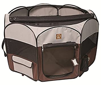 One For Pets Fabric Portable Indoor/Outdoor Pet Playpen, Large, Grey/Brown