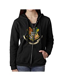 Akslkli Womens Full Zip Harry Potter Hogwarts Logo Hoodie With Pouch Pocket