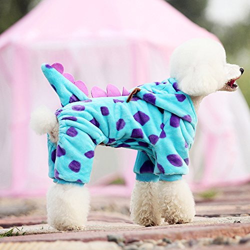 LUCKSTAR Blue Fashionable Pet Supplies Puzzle Bobble Style Pet Flannelette Winter Clothes with Hat Dog Costume Warm Casual Coat Hoodie for Dog (XS) by LUCKSTAR (Image #2)