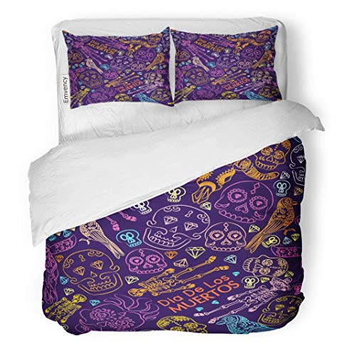 Tarolo Bedding Duvet Cover Set America to The in Mexico Halloween Festival Fall Holiday Clowns Scary Masks El Dia De Los Muertos Autumn 3 Piece Queen 90