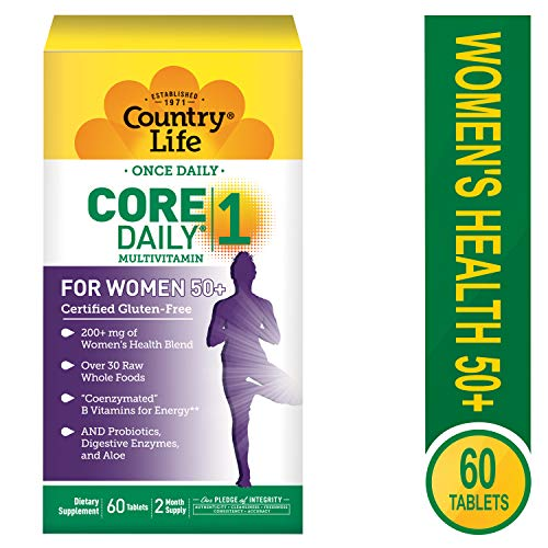 Country Life Core Daily-1 for Women 50 Plus – 60 Tablets – 200 mg of Women s Health Blend – Over 30 Raw Whole Foods