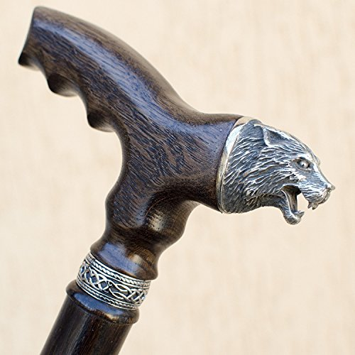 Fashionable Wooden Walking Stick - Handmade Wolf Cane with Unique Pommel - Custom Length 32