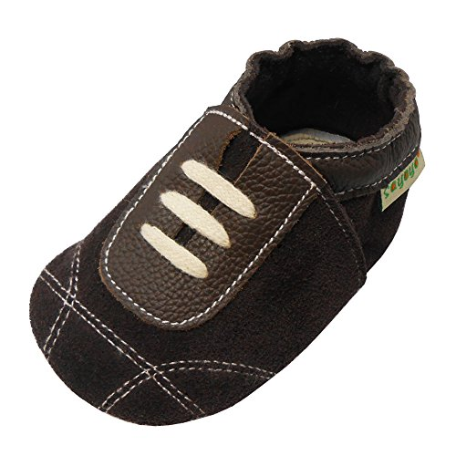Sayoyo Baby Sneakers Leather Baby Shoes Crib Shoes Toddler Soft Sole Sneakers (24-36 Months, Suede Dark Brown)