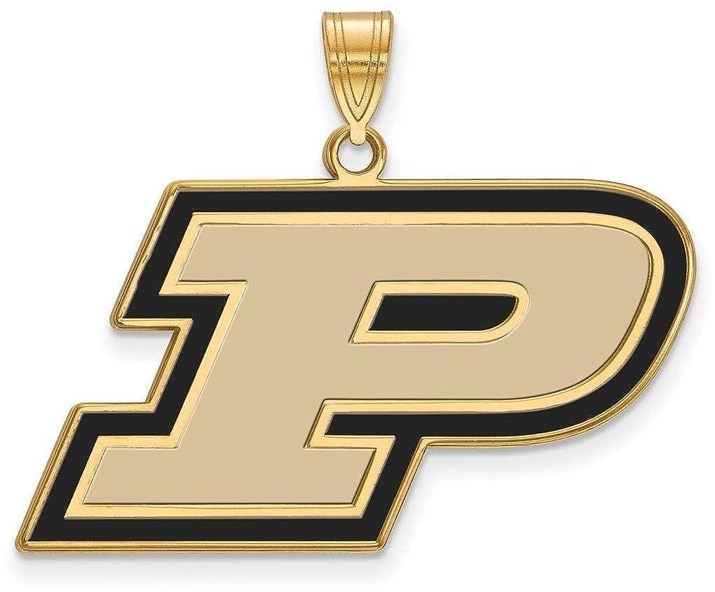 GP026PU Gold-Plated Sterling Silver Purdue Large Enamel Pendant by LogoArt