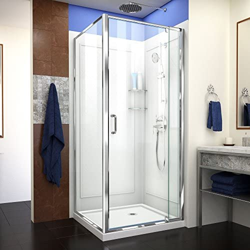 DreamLine Flex 36 in. D x 36 in. W x 76 3 4 in. H Semi-Frameless Shower Enclosure in Chrome with Corner Drain Base and Backwalls, DL-6717-01CL