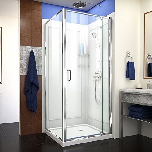 (DreamLine Flex 32 in. D x 32 in. W x 76 3/4 in. H Pivot Shower Enclosure in Chrome with Center Drain White Base and Backwall Kit,)