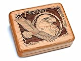 6x5'' Box With Black And Burlwood Knife - Freedom Eagle