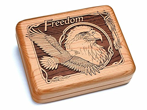 6x5'' Box With Black And Burlwood Knife - Freedom Eagle by Heartwood Creations