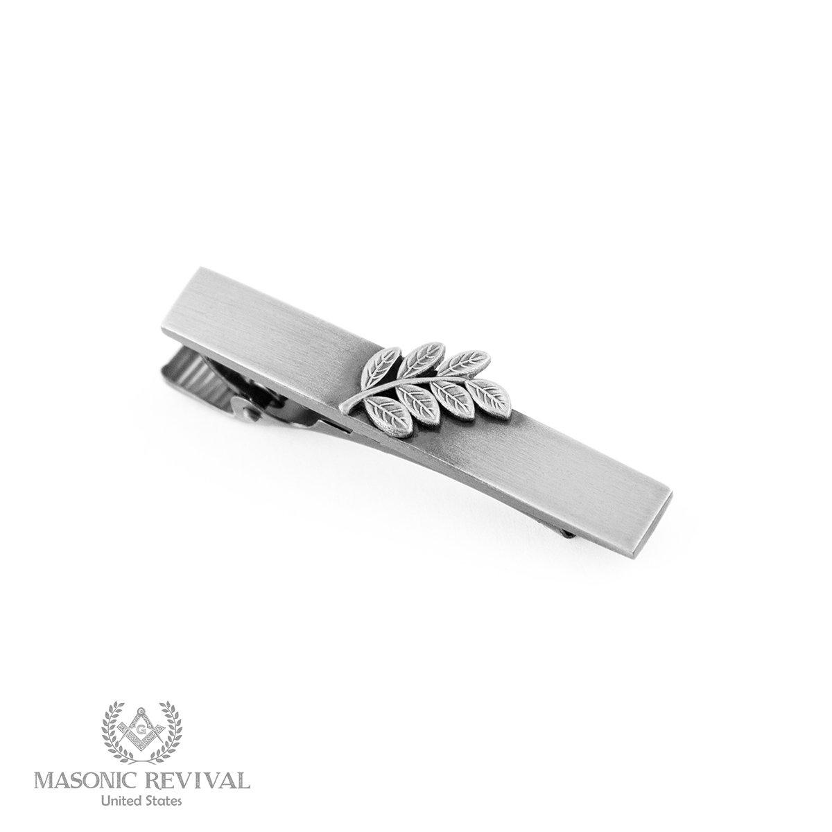 Sprig of Acacia Tie Bar Clip by Masonic Revival (Short / Antique Silver)