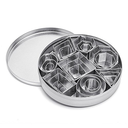 Cookie Cutter Set, Geometric Shapes Cutters, Metal Fondant Cutters Including Hexagon, Square, Circle, Oval, Octagon, Diamond Molds for Pastry, Fondant, Donuts, Clay, Fit for Kitchen, Baking, Stainless