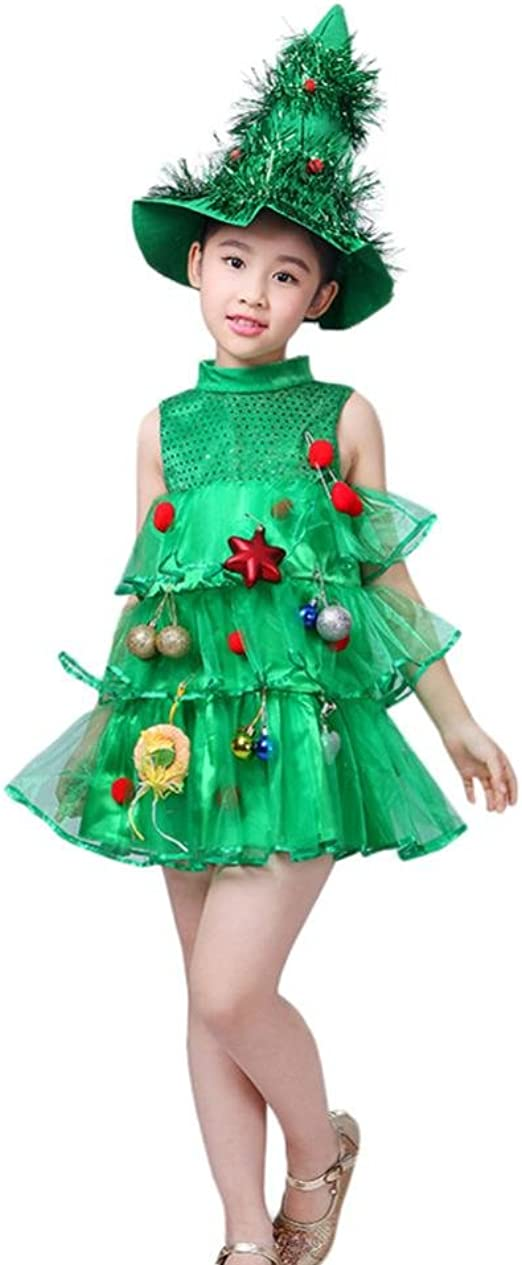 Girls Christmas Tree Costume Child Xmas Princess Dress Kids Novelty Show Outfit