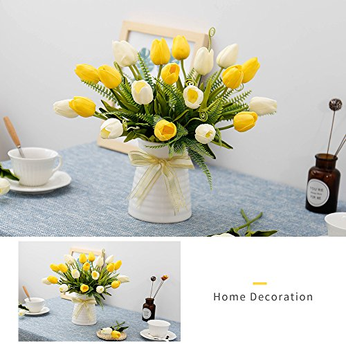 YILIYAJIA-Artificial-Tulips-Flowers-with-Ceramics-Vase-Fake-Tulip-Bridal-Bouquets-Real-Touch-Flowers-Arrangement-for-Home-Table-Wedding-Office-DecorationYellowBeige