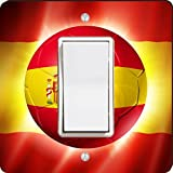 Rikki Knight 44251 Single Rocker Brazil World Cup 2014 Spain Team Football Soccer Flag Design Light Switch Plate