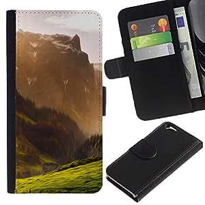 NEECELL GIFT forCITY // Billetera de cuero Caso Cubierta de protección Carcasa / Leather Wallet Case for Apple Iphone 6 // Ilustración de la montaña